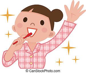 cepillado, mujer, dientes