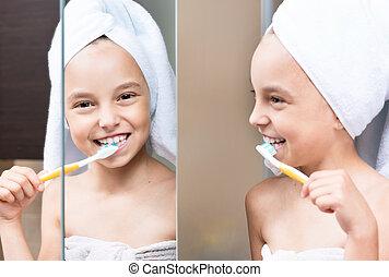 cepillado, niña, dientes