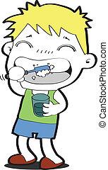 cepillado, niño, el suyo, joven, dientes