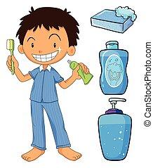 cepillado, niño, pijama, dientes