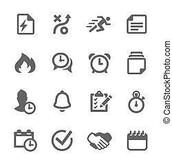 cepillado, organización, iconos
