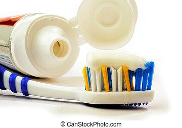 cepillo de dientes, entero, tubo, pasta dentífrica