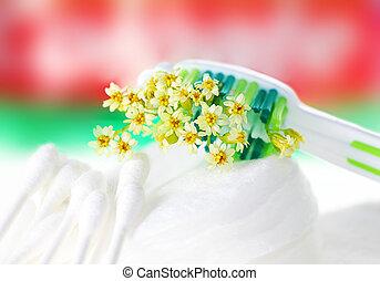 cepillo de dientes, flores, diminuto