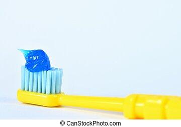 cepillo de dientes, fondo., blanco, pasta
