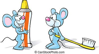 cepillo de dientes, pasta dentífrica, ratones, dos, ilustración
