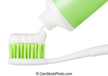 cepillo de dientes, pasta dentífrica, tubo