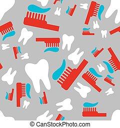 cepillo de dientes, patrón, seamless, diente