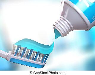 cepillo de dientes, tubo, toothpaste.