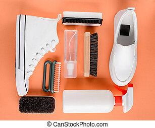 cepillo, set:, limpiador, blanco, esponja, rociar, shoes, ...