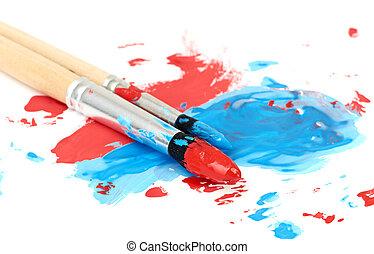 cepillo, y, pintura, rasguño