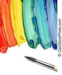cepillo, y, resumen, acrílico, pintado, plano de fondo
