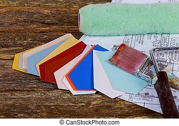 cepillos, cianotipo, pintura, papel, dibujos, arquitectónico, rodillo