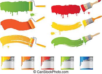 cepillos, vector, rodillo, pintura