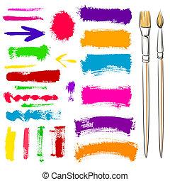 cepillos, y, grunge, pintado, elements., vector, pintado,...