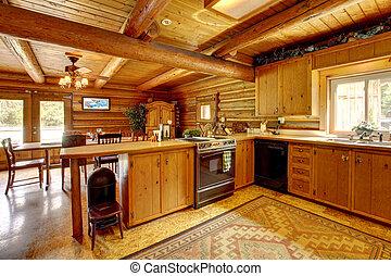 ceppo, rustico, legno, style., cabina, cucina