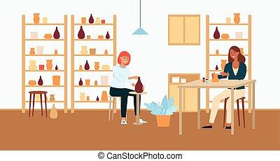 cerámica, marrón, pelado, mujeres, luz, trabajo, oscuridad, pottery., haired, rojo