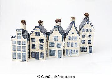 cerámico, casas, china, histórico, holandés, delft