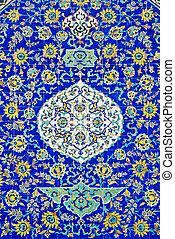 cerâmico, pintado, arte, azulejos, esfahan, irã