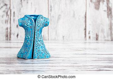 cerâmico, turco, madeira, simbólico, estatuetas, feito à mão, fundo, branca