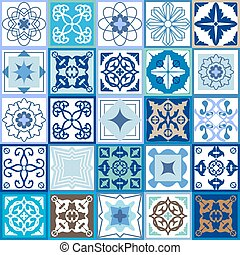 cerâmico, vindima, jogo, tiles., checkered