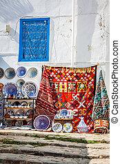 cer㢭icas, bazar, oriental, (tunisia), coloridos