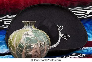 cer㢭icas, chapéu mexicano