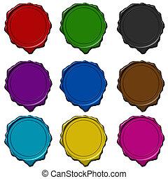 cera, coloreado, colección, sello