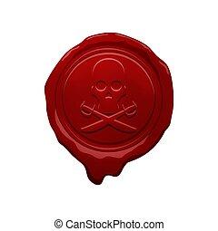 cera, diseño, pirata, sello