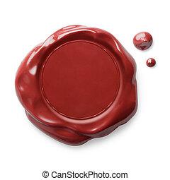 cera, isolado, vermelho, selo