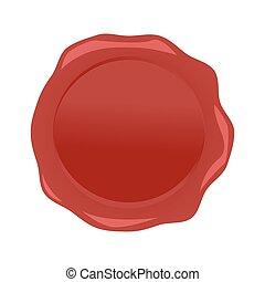 cera, isolato, fondo., vettore, sigillo, bianco rosso
