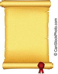 cera, scroll, vermelho, selo
