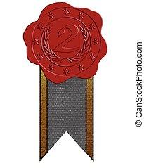 cera, segundo, vetorial, lugar, vermelho, selo, fita