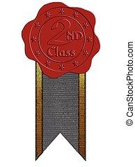 cera, segundo, vetorial, vermelho, selo, classe, fita