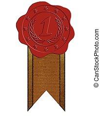 cera, vector, lugar, cinta, sello, rojo, primero
