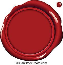 cera, vermelho, selo