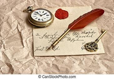 cera, viejo, carta, sello