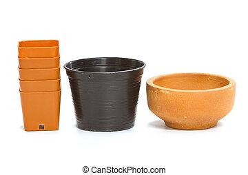 ceramic and plastic flower pot