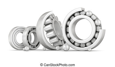 Ceramic bearings group over white