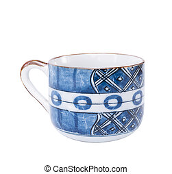 Ceramic blue cup isolated on white background with clipping path