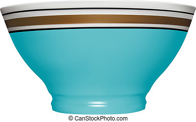 Ceramic bowl in vector on white background.