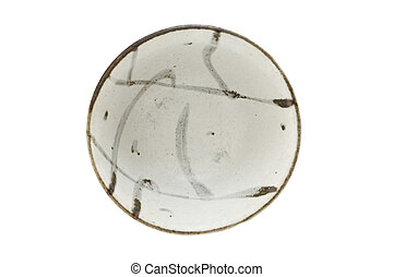 Ceramic bowl isolated on white background (Top view)