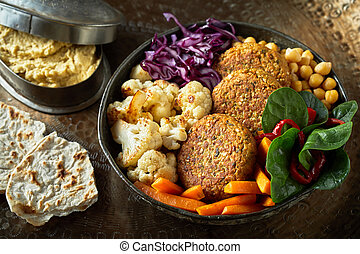 Ceramic bowl of vegetables and cutlets