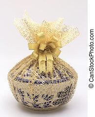 Ceramic bowl on white background
