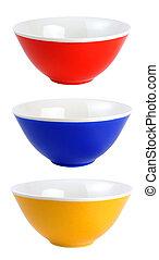 Ceramic bowls isolated on white background