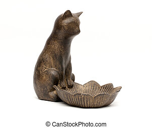 Ceramic cat souvenir isolated on a white background