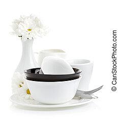 ceramic dishes isolated on white background