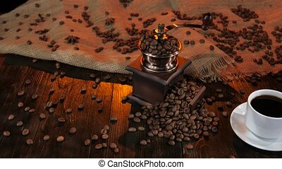 Ceramic coffee maker on a table with cup of coffee - Ceramic...