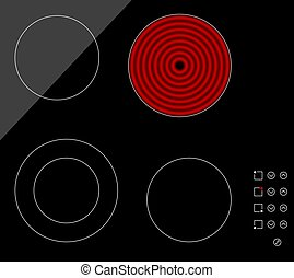 Ceramic cooktop - An illustration of a black ceramic cooktop...