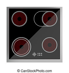 Ceramic cooktop isolated on white