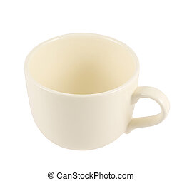 Ceramic cream colored cup isolated over white background